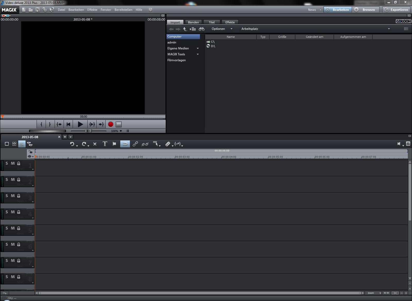 Video Deluxe 2013 Benutzoberfläche