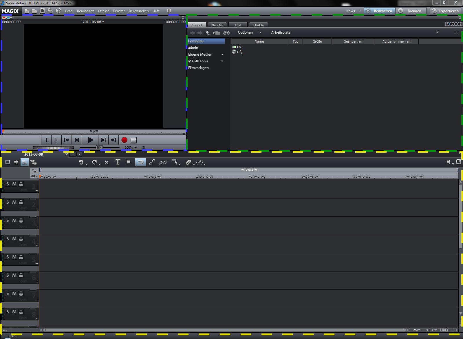Benutzoberfläche Video Delxe 2013