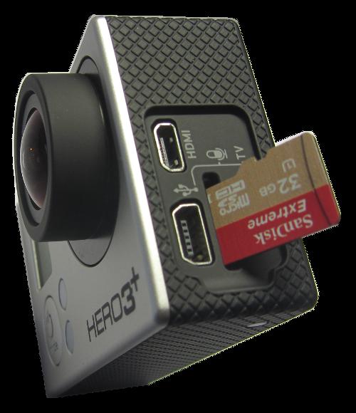 Speicherkarte in GoPro-Kamera einsetzen