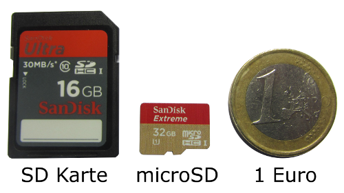 Vergleich SD und microSD Speicherkarte