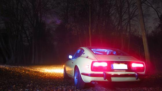 Oldtimer nachts fotografiert